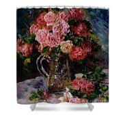 Roses Shower Curtain by Pierre Auguste Renoir