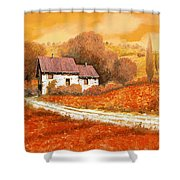 Rosso Papavero Shower Curtain by Guido Borelli