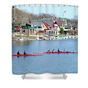 Rowing Along the Schuylkill River Shower Curtain by Bill Cannon