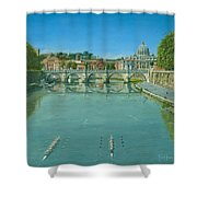 Rowing On The Tiber Rome Shower Curtain by Richard Harpum