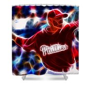 Roy Halladay Magic Baseball Shower Curtain by Paul Van Scott