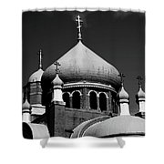 Russian Orthodox Church Bw Shower Curtain by Karol  Livote