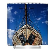 Rusting boat Shower Curtain by Stylianos Kleanthous