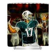 Ryan Tannehill - Miami Dolphin Quarterback Shower Curtain by Paul Ward