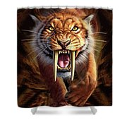 Sabertooth Shower Curtain by Jerry LoFaro