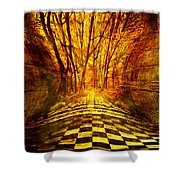 Sacred Temple Of The Trees Shower Curtain by Jenny Rainbow