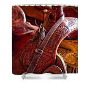 Saddle In Tack Room Shower Curtain by Inge Johnsson
