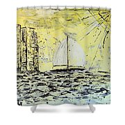 Sail And Sunrays Shower Curtain by J R Seymour