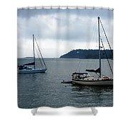 Sailboats In Bar Harbor Shower Curtain by Linda Sannuti