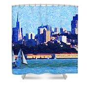 Sailing In The San Francisco Bay Shower Curtain by Wingsdomain Art and Photography