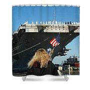 Sailors Aboard Aircraft Carrier Uss Shower Curtain by Stocktrek Images