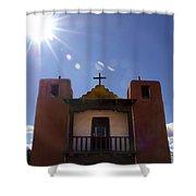 Saint Jeromes Chapel Taos Pueblo Shower Curtain by Kurt Van Wagner