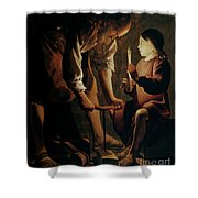 Saint Joseph The Carpenter  Shower Curtain by Georges de la Tour