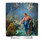 Saint Peter Invited To Walk On The Water Shower Curtain by Francois Boucher