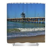 San Clemente Pier Shower Curtain by Tommy Anderson
