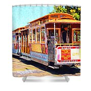 San Francisco Cablecar At Fishermans Wharf . 7d14097 Shower Curtain by Wingsdomain Art and Photography