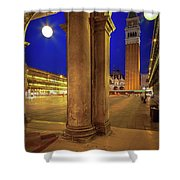 San Marco At Night Shower Curtain by Inge Johnsson