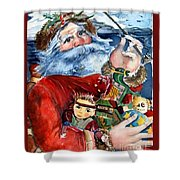 Santa Shower Curtain by Mindy Newman