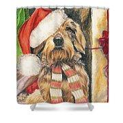 Santas Little Yelper Shower Curtain by Barbara Keith