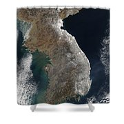 Satellite View Of Snowfall Along South Shower Curtain by Stocktrek Images