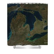 Satellite View Of The Great Lakes, Usa Shower Curtain by Stocktrek Images