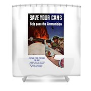 Save Your Cans - Help Pass The Ammunition Shower Curtain by War Is Hell Store