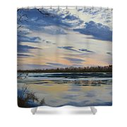 Scenic Overlook - Delaware River Shower Curtain by Lea Novak