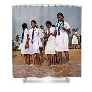 School Trip To Beach Shower Curtain by Rafa Rivas