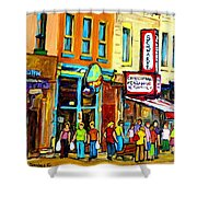Schwartz's Hebrew Deli On St. Laurent In Montreal Shower Curtain by Carole Spandau