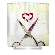 Scissors And Heart Shower Curtain by Joana Kruse