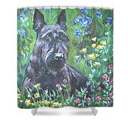 Scottish Terrier In The Garden Shower Curtain by Lee Ann Shepard