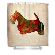 Scottish Terrier Watercolor 2 Shower Curtain by Naxart Studio