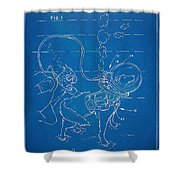 Scuba Doggie Patent Artwork 1893 Shower Curtain by Nikki Marie Smith