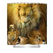 Seasons Of The Lion Shower Curtain by Carol Cavalaris