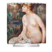Seated Female Nude Shower Curtain by Renoir