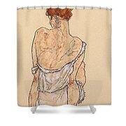 Seated Woman In Underwear Shower Curtain by Egon Schiele
