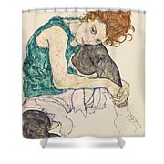 Seated Woman With Bent Knee Shower Curtain by Egon Schiele