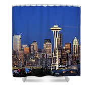 Seattle At Dusk Shower Curtain by Adam Romanowicz