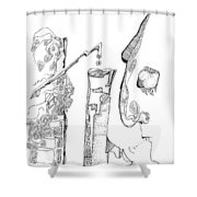 Secrets Of The Engineers Shower Curtain by Regina Valluzzi