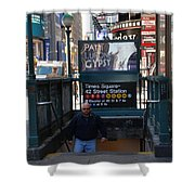 SELF AT SUBWAY STAIRS Shower Curtain by ROB HANS
