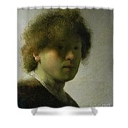 Self Portrait As A Young Man Shower Curtain by Rembrandt