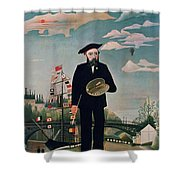 Self Portrait From Lile Saint Louis Shower Curtain by Henri Rousseau