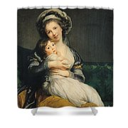 Self Portrait In A Turban With Her Child Shower Curtain by Elisabeth Louise Vigee Lebrun