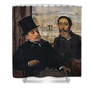 Self Portrait With Evariste De Valernes Shower Curtain by Edgar Degas