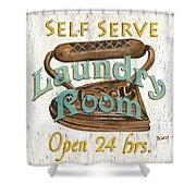 Self Serve Laundry Shower Curtain by Debbie DeWitt