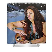 She Paints With Stars Shower Curtain by J W Baker