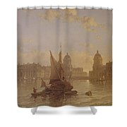 Shipping On The Thames At Greenwich Shower Curtain by David Roberts
