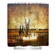 Shrimp Boat In Charleston Shower Curtain by Susanne Van Hulst