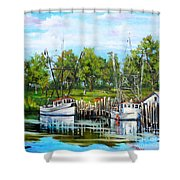 Shrimping Boats Shower Curtain by Dianne Parks