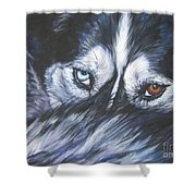 Siberian Husky Eyes Shower Curtain by Lee Ann Shepard